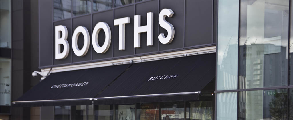 Booths branded shop awning