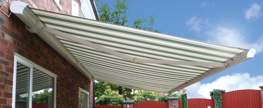 Cougar striped terrace awning
