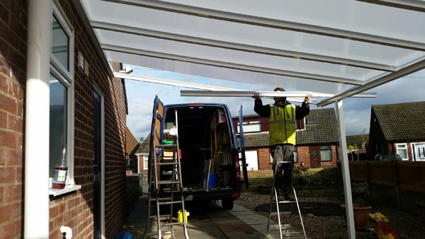 Fitting a lean-to carport